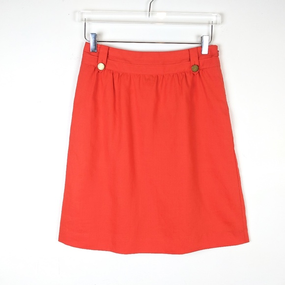 Tory Burch Dresses & Skirts - Tory Burch Roselin Linen Skirt Coral Orange NEW 4